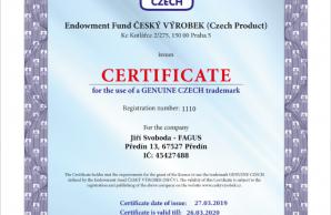 Genuine Czech trademark - Certificate