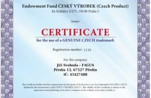 Certificate Genuine Czech